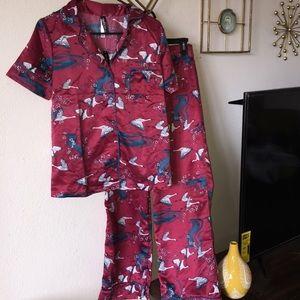 Adore Me Silky Japanese Crane Pajama Set NWT S